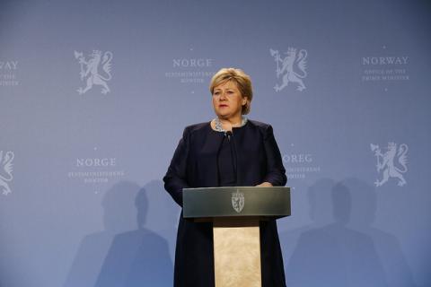 Statsminister Erna Solberg. Foto: Heiko Junge:NTB scanpix:SMK (CC BY-NC 2.0:Flick).