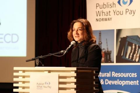 Grace Perez-Navarro fra OECDs skatteadministrajon var tydelig på at det internasjonale skattemarkedet må endres. Foto: Eline Helledal