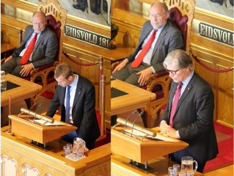 Kjell Ingolf Ropstad fra Krf (t.v.) og Ola Elvestuen fra Venstre argumenterte begge for utvidet land-for-land rapportering under Stortingsdebatten. Foto: Christine Amdam