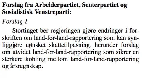 Skjermdump av forslaget om utvidet land-for-land rapportering som nå er offentliggjort.