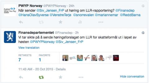 Finansdepartementet skriver på Twitter at de tar sikte på å sende forskriften om land-for-land rapportering på høring nå i høst. Foto: Skjermdump fra Twitter.
