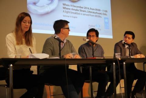 Panelet for dagen besto av f.v: Mona Thowsen, Gro Lindstad, Gonzalo Ale Pezo og Jamshed Kazi. Foto: Christine Amdam