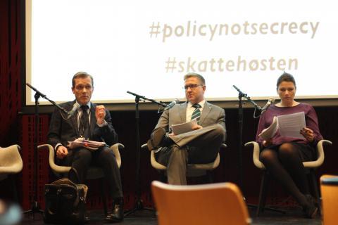 Fra venstre Paal Bjørnestad (Frp), Truls Wickholm (Ap) og Heidi Nordby Lunde (H). Foto: Eline Helledal