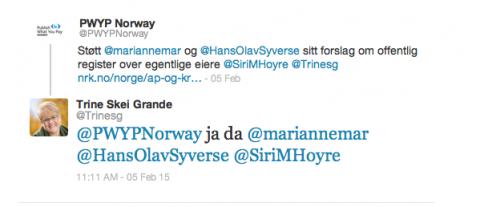 Venstre-leder Trine Skei Grande sier på Twitter at hun skal gi sin støtte til forslaget. Foto: skjermdump